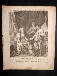 Butley 1762 Antique Religious Print. Saral Giveth Hagar to Abraham